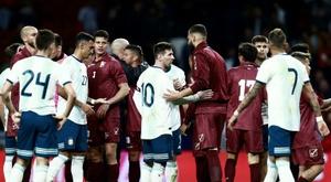 Maradona pas satisfait du match de l'Argentine. AFP