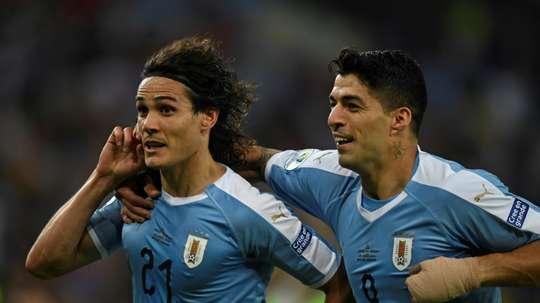 Cavani, unique buteur contre le Chili. AFP