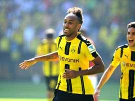 Aubameyang realizó un gran partido ante el Bayer Leverkusen. AFP