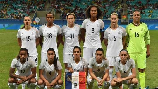 L'équipe de France avant son match contre la Nouvelle-Zélande aux JO. AFP