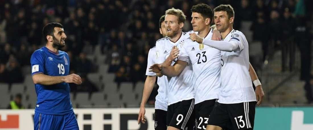 La 'Mannschaft' d'Andre Schürrle, Mario Gomez et Thomas Müller a vaincu l'Azerbaïdjan. AFP