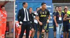 Allegri volvió a ensalzar a Cristiano. AFP
