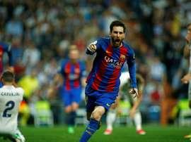 La joie de Lionel Messi après le but de la victoire du Barça sur la pelouse du Real Madrid. AFP