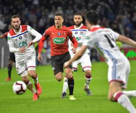 Hatem Ben Arfa (c), lors du la demi-finale de la Coupe de France face à Lyon. AFP