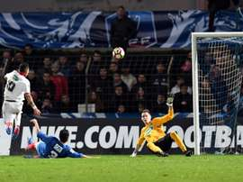 Le Lillois Rony Lopes inscrit un but contre Bergerac en Coupe de France. AFP