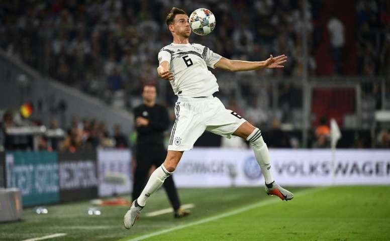 Leon Goretzka contrôle le ballon face à la France en Ligue des Nations. AFP