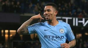 Le joueur de Manchester City Gabriel Jesus auteur dun doublé lors de la victoire 3-0. AFP