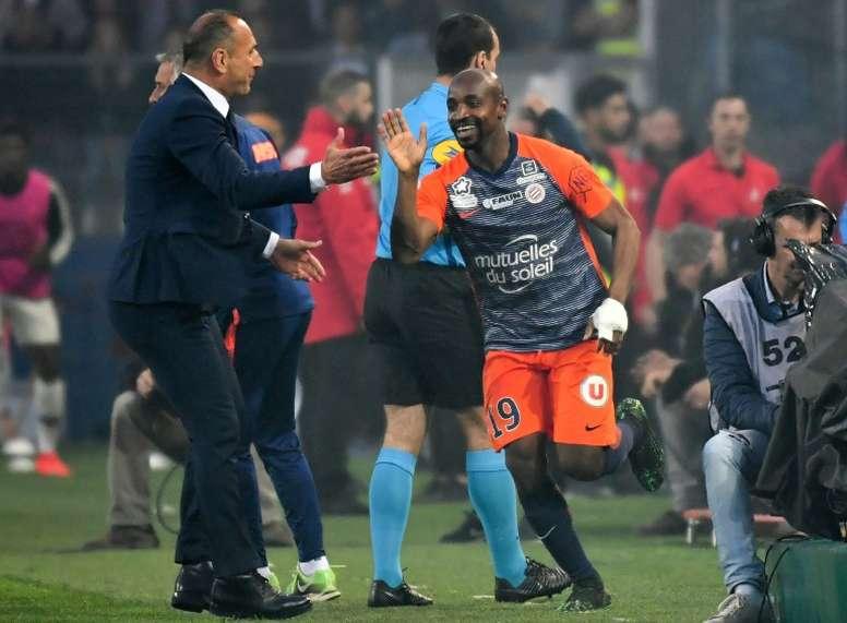 L'attaquant de Montpellier Souleymane Camara. AFP