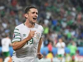 L'Irlandais Robbie Brady après son but contre l'Italie lors de lEuro, le 22 juin 2016 à Lille. AFP