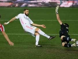 Benzema em sua temporada mais goleadora. AFP