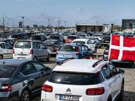 Des matches de foot en drive-in au Danemark. AFP