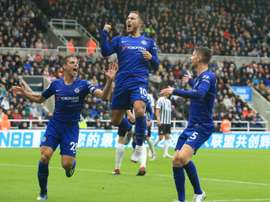 Hazard opened the scoring in controversial fashion. AFP