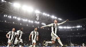 Ronaldo celebrates scoring against Atletico. AFP