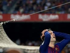Le défenseur du FC Barcelone Gerard Piqué lors du match face à Gérone. AFP
