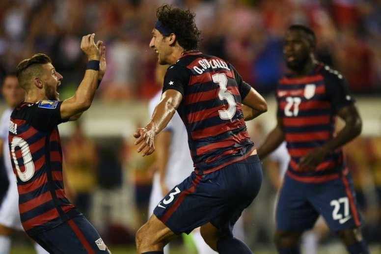 Le défenseur Omar Gonzalez a ouvert le score pour les Etats-Unis contre le Salvador en Gold Cup. AFP