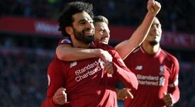 Salah hizo un tanto y regaló dos. AFP