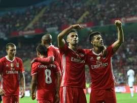 Les joueurs de Benfica fêtent lun de leurs 3 buts face à Braga en Supercoupe du Portugal, le 7 août 2016 à Aveiro