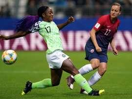 Francisca Ordega (g) lors du match face à la Norvège. AFP