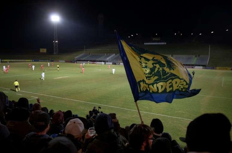 Des supporters du First Vienna lors dun match contre Parndorf, au Hohe Warte Stadium. AFP