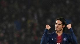 Cavani félicite son équipe. AFP