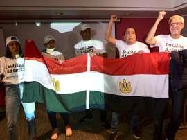 Les représentants de la candidature égyptienne ravis après la désignation de leur pays. AFP