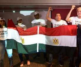 Les représentants de la candidature égyptienne. AFP