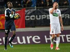 Le milieu de Montpellier Junior Sambia buteur face à Lorient en Coupe de France. AFP