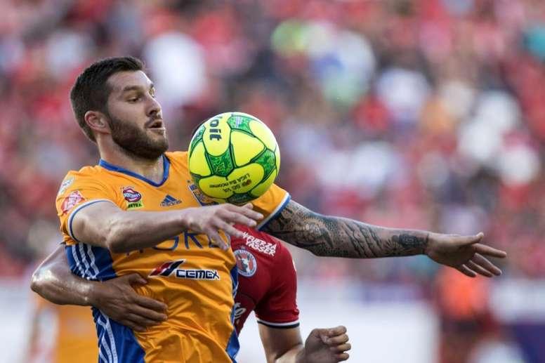 L'attaquant français des Tigres de Monterrey André-Pierre Gignac contre Tijuana. AFP