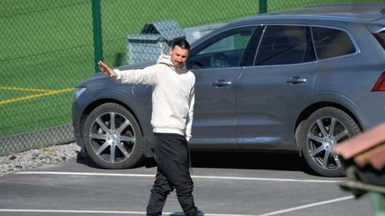 Ibrahimovic aperçu à l'entraînement avec l'équipe d'Hammarby. AFP