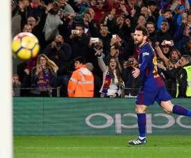 Lionel Messi heureux après avoir marqué à domicile. AFP