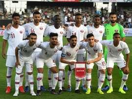 L'équipe du Qatar avant son quart de finale . AFP