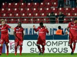 Les joueurs de Dijon FCO, lors d'un match de Coupe de France face à Reims, au stade Gaston-Gerard.