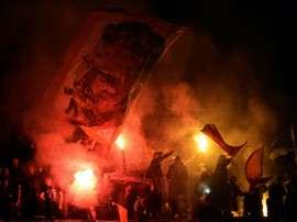 Les supporters de Marseille lors du match à Braga. AFP
