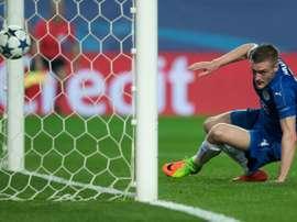 L'attaquant vedette de Leicester Jamie Vardy inscrit le but de l'espoir à Séville en C1. AFP