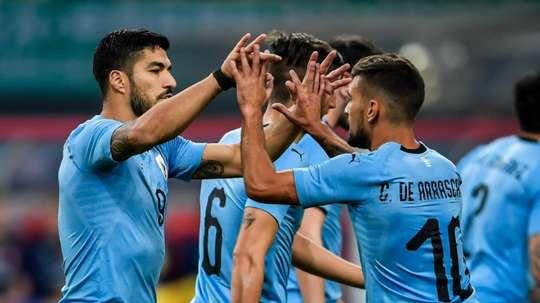 Luis Suarez et Cavani ont inscrit les deux buts. AFP
