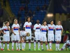 Les joueuses lyonnaises lors de la finale de la Ligue des champions face au PSG. AFP