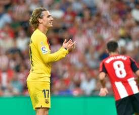Antoine Griezmann débute son aventure barcelonaise en championnat par une défaite à Bilbao. AFP