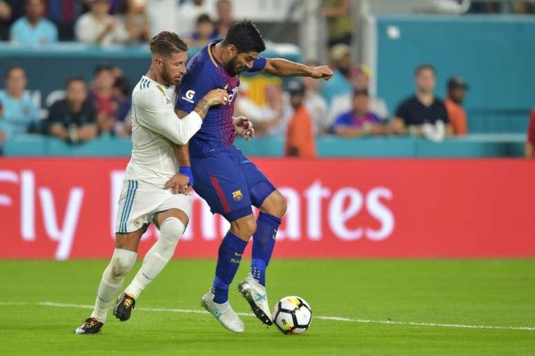 Ramos ha sido expulsado en los tres de los últimos nueve partidos ante el máximo rival. AFP