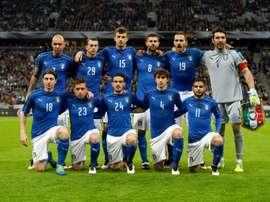 L'équipe d'Italie pose avant le match amical face à l'Allemagne, le 29 mars 2016 à Munich. AFP