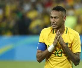 L'émotion de l'attaquant brésilien Neymar, sacré champion olympique avec sa sélection. AFP