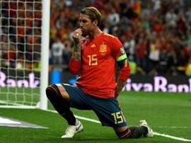 Sergio Ramos buteur lors de la victoire 3-0 sur la Suède en qualifications de l'Euro 2020. AFP