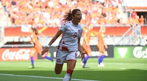 Nadia Nadim buteure lors du match face aux Pays-Bas lors de l'Euro. AFP