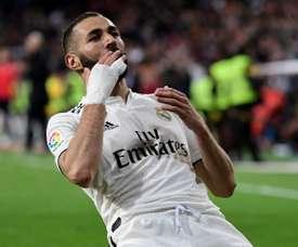 Benzema buteur lors de la victoire du Real Madrid 3-2. AFP