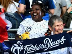 Sidonie Asseyi, la mère de Viviane, attaquante des bleues, le 17/06/19. AFP