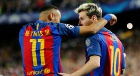 Neymar est destiné à prendre la succession de Lionel Messi selon Mazinho. AFP