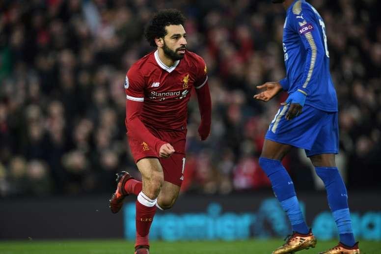 Salah shines as Liverpool down Leicester. AFP