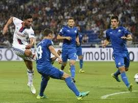 Le milieu de l'OL Jordan Ferri auteur d'un but contre le Dinamo Zagreb en Ligue des champions. AFP