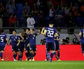 Les Japonais vainqueurs du Vietnam en quarts de finale de la Coupe d'Asie à Dubaï. AFP