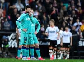 O Valencia resistiu aos vários chutes disparados por Messi. AFP