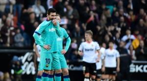 Messi non è riuscito a segnare al Mestalla. AFP